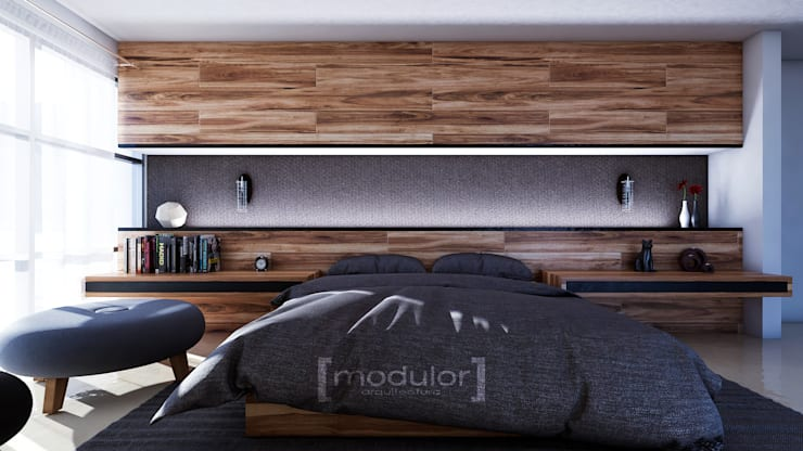 Modern style bedroom by Modulor Arquitectura Modern Wood Wood effect