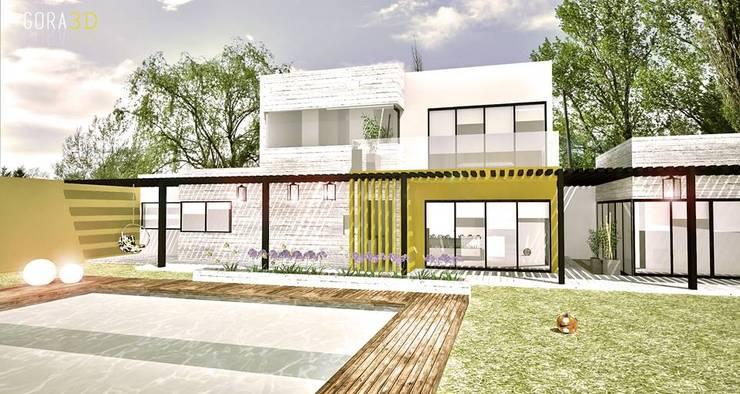 VIVIENDA GAMA: Casas unifamiliares de estilo  por GORA Arquitectura 3D