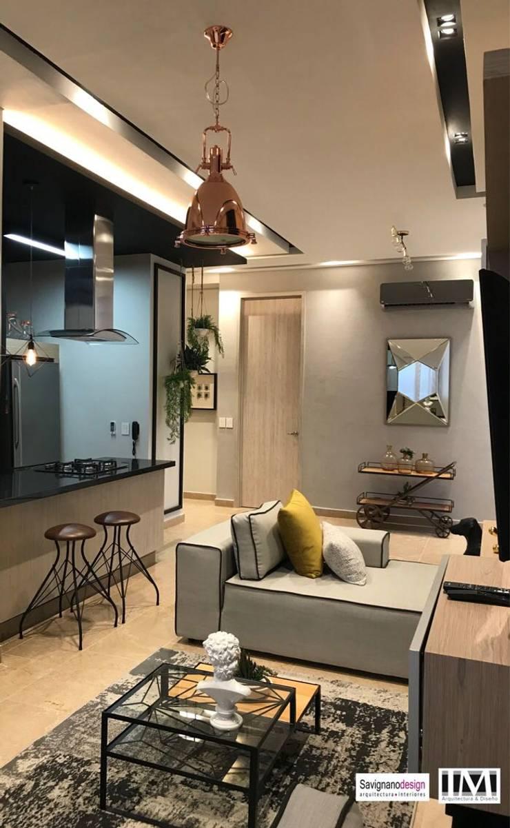 Diseño y construccion (Reforma y remodelacion) – Apto de soltero – Barranquilla: Salas de estilo  por Savignano Design