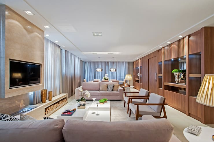 Projekty,  Salon zaprojektowane przez Carolina Kist Arquitetura & Design