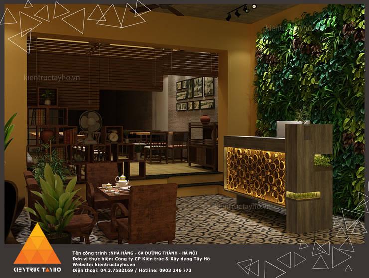 Phối cảnh tầng 1 khu vực quầy Lễ tân:  Phòng ăn by KIẾN TRÚC TÂY HỒ