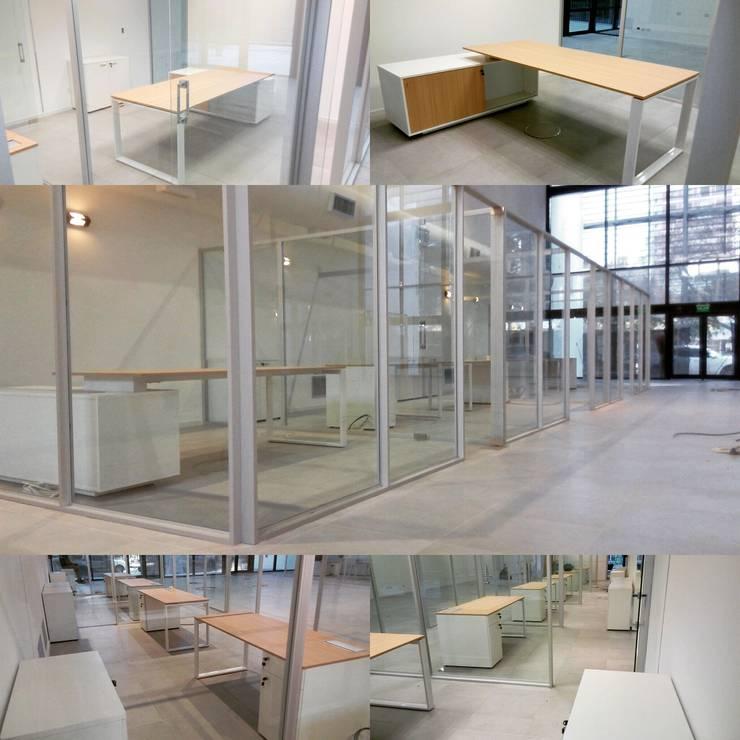escritorios en MDF con patas metalicas: Oficinas y locales comerciales de estilo  por Araucaria Amoblamientos,