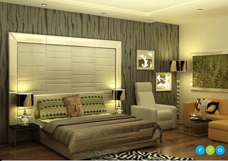 Being bold in your decorative choices is essential for a small space..:  Bedroom by FYD Interiors Pvt. Ltd,Modern