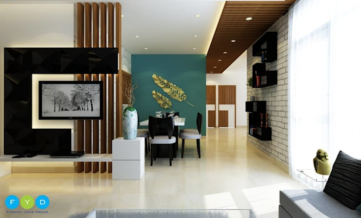 A Room Should Never Allow The Eye To Settle In One Place. It Should Smile At You And Create Fantasy.:  Living room by FYD Interiors Pvt. Ltd,Modern