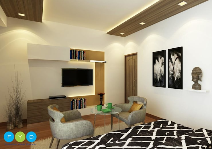 A Room Should Never Allow The Eye To Settle In One Place. It Should Smile At You And Create Fantasy.:  Bedroom by FYD Interiors Pvt. Ltd,Modern
