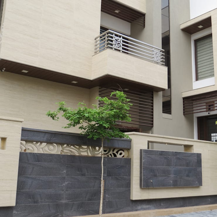 Exterior Elevation:  Bungalows by umesh prajapati designs,Modern Stone