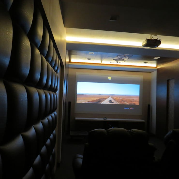 Home Theatre:  Media room by umesh prajapati designs,Modern Wood Wood effect
