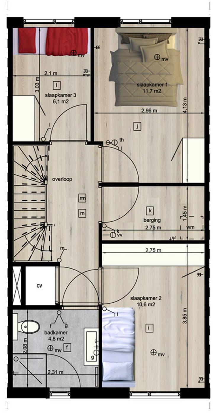 Woning vrije kavel eerste verdieping:  Huizen door YA Architecten