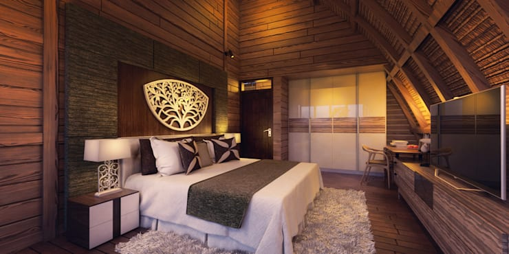 Tropical style bedroom by Skye Architect Tropical Plywood