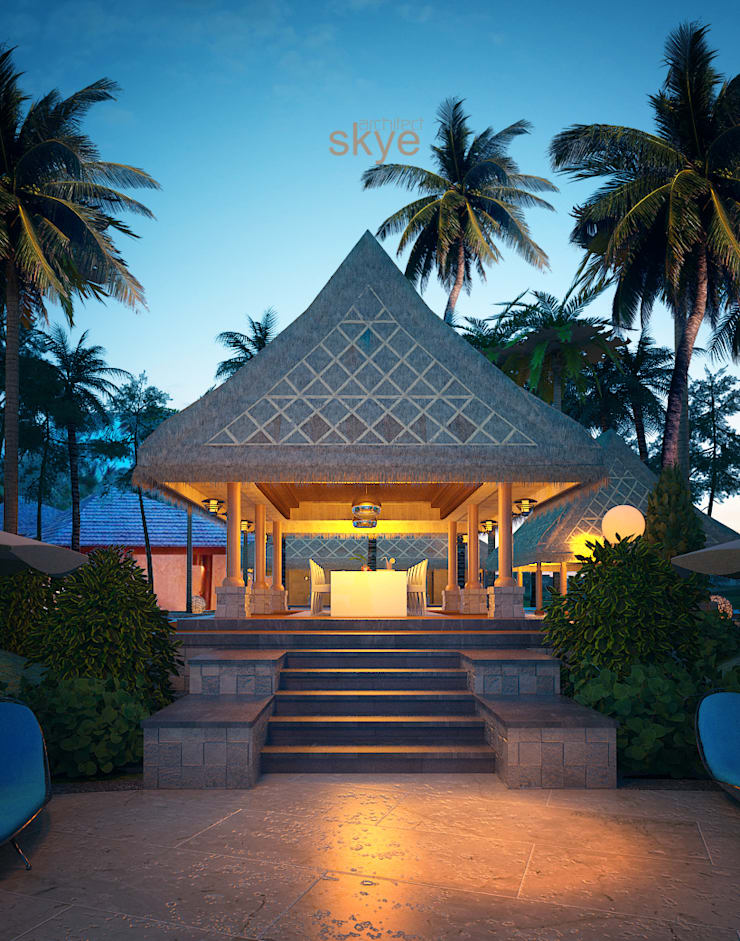 Tropical style hotels by Skye Architect Tropical Stone