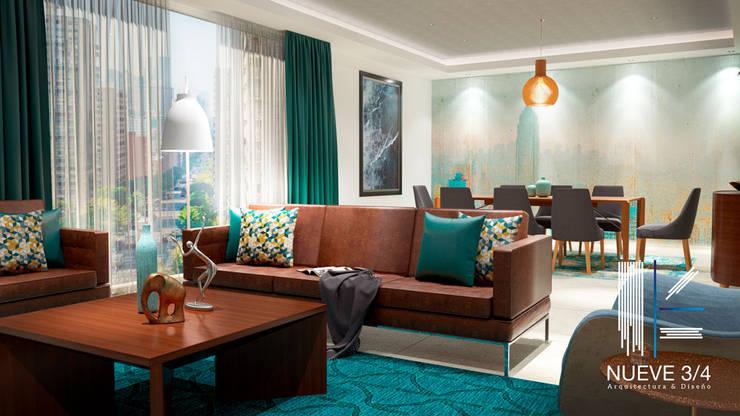 Living Room: Salas de estilo  por Nueve 3/4