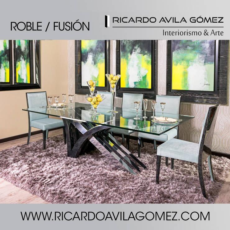 NUEVA COLECCION ROBLE/FUSIÓN 2017: Comedor de estilo  por Ricardo Avila Gómez Interiorismo y Arte