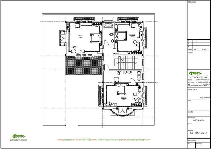 Mặt bằng tầng 2:  Biệt thự by Công ty TNHH Thiết Kế và Ứng Dụng QBEST