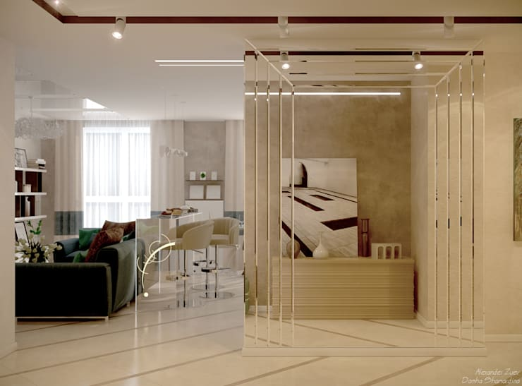 """Дизайн коридора в стиле модернизм в ЖК """"Большой"""", г.Краснодар: Коридор и прихожая в . Автор – Студия интерьерного дизайна happy.design, Модерн"""