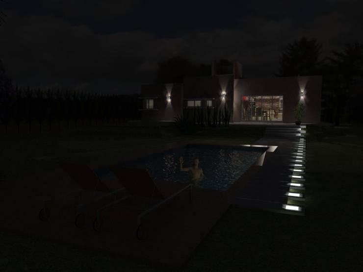 Jardín de noche: Casas de estilo  por Gastón Blanco Arquitecto,