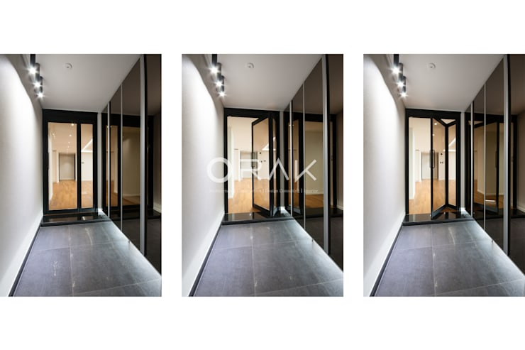 수원 영통동 청명마을 건영아파트  / 49평형 아파트 인테리어: 오락디자인의  복도 & 현관,모던