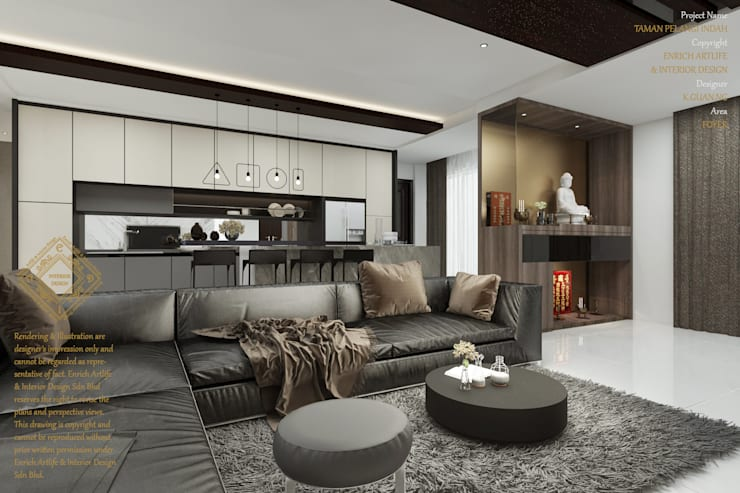 Luxurious living room:  Living room by Enrich Artlife & Interior Design Sdn Bhd, Modern