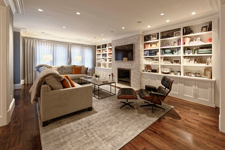 Luxury Kalorama Condo Renovation in Washington DC:  Living room by BOWA - Design Build Experts