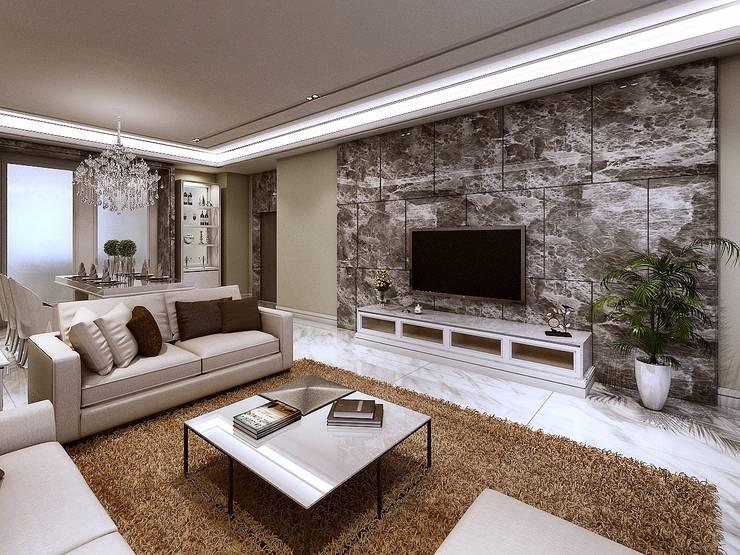 客廳電視牆:   by 木皆空間設計