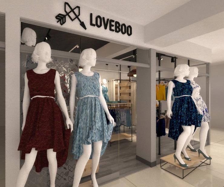 Vista desde el ingreso secundario: Espacios comerciales de estilo  por Priscila Meza Marrero
