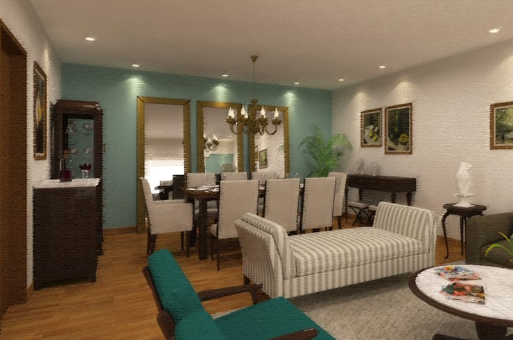 Sala Comedor: Comedores de estilo  por Priscila Meza Marrero,