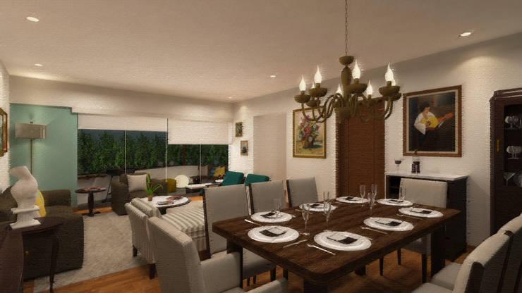 Sala Comedor y Terraza: Salas / recibidores de estilo  por Priscila Meza Marrero