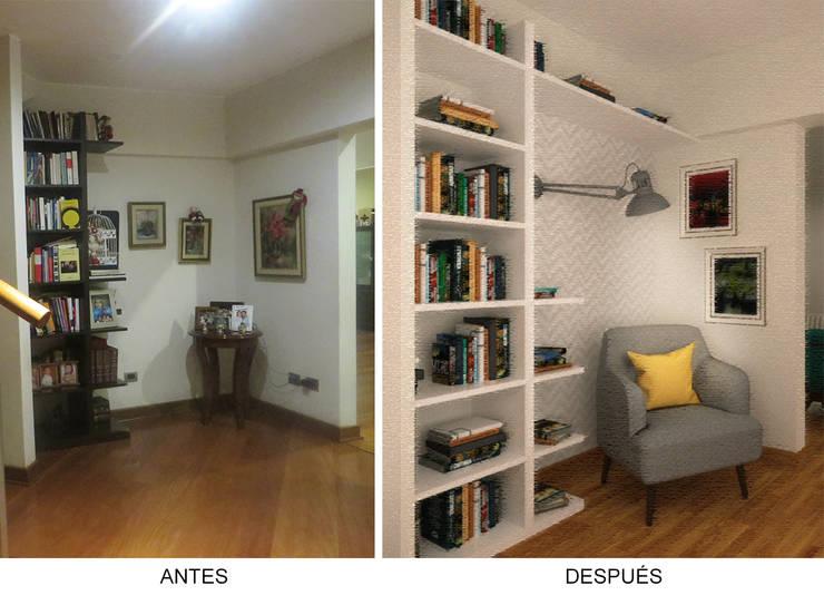 Recibidor/Zona de Lectura - Antes y Después: Salas / recibidores de estilo  por Priscila Meza Marrero