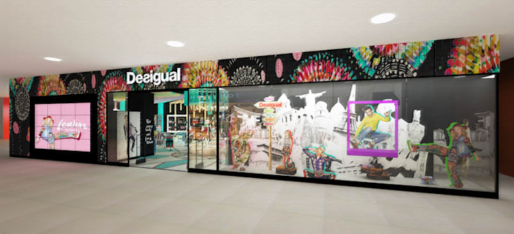 Exterior tienda Desigual - Ingreso: Espacios comerciales de estilo  por Priscila Meza Marrero