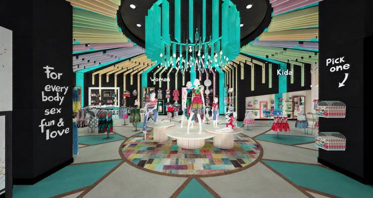 Ingreso tienda - Display principal: Espacios comerciales de estilo  por Priscila Meza Marrero