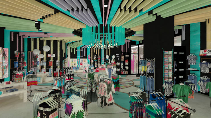 Vista desde la zona de mujeres: Espacios comerciales de estilo  por Priscila Meza Marrero