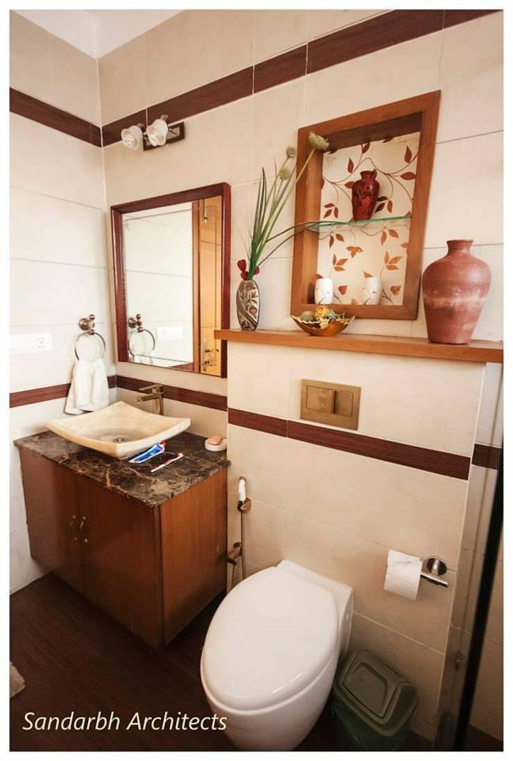 Rahaman's residence:  Bathroom by Sandarbh Design Studio,Eclectic Tiles