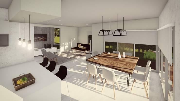 Comedor conectado a la zona de servicio, y en relación directa con el espacio exterior: Comedores de estilo  por Quinta Fachada,