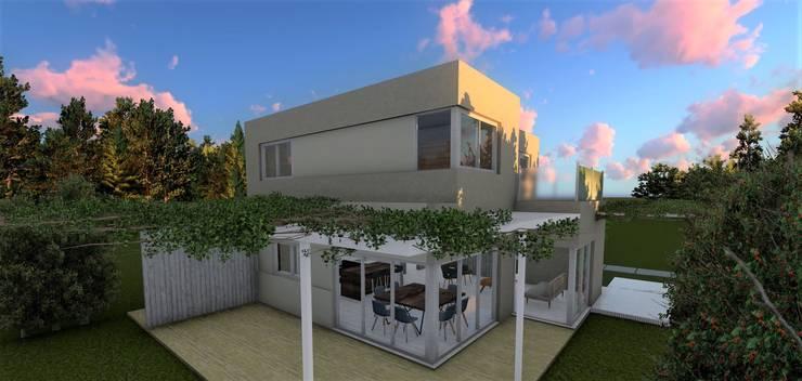 Fachada posterior: Casas unifamiliares de estilo  por Quinta Fachada,