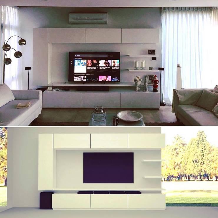 mueble living: resultado final y render: Livings de estilo  por MARIA NIGRO ARQUITECTA,