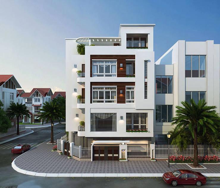 Thiết kế nhà phố 4 tầng 2 mặt tiền đẹp chất ngất:   by Văn phòng kiến trúc Ktshanoi