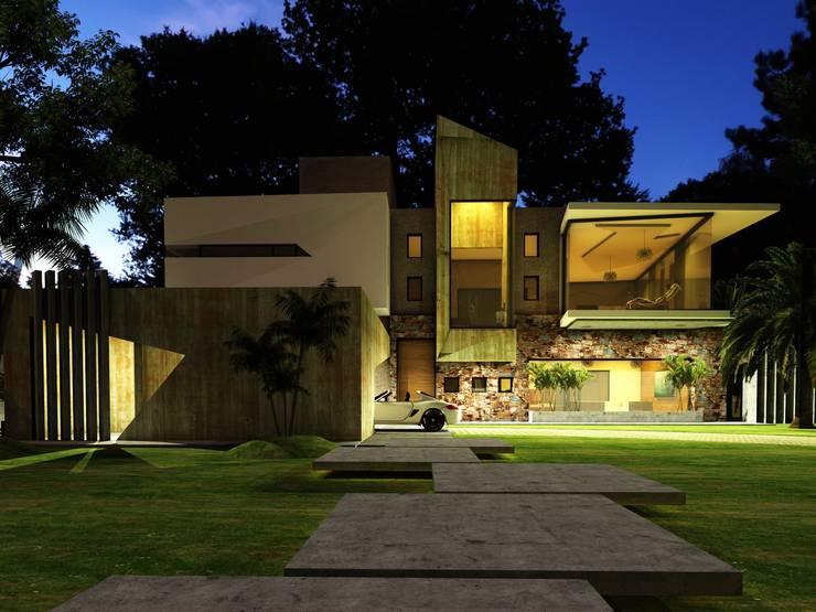 Vista nocturna desde la calle: Casas de estilo  por CASTELLINO ARQUITECTOS (+),
