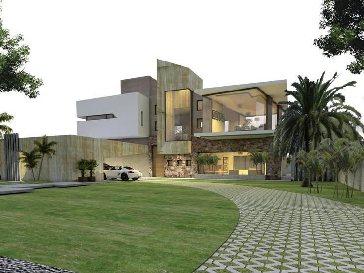 Vista diurna desde la calle: Casas de estilo  por CASTELLINO ARQUITECTOS (+),