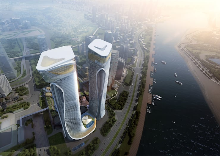 Zhuhai Hengqin Headquarters Complex (Phase II), Zhuhai, China:  Commercial Spaces by Architecture by Aedas, Modern
