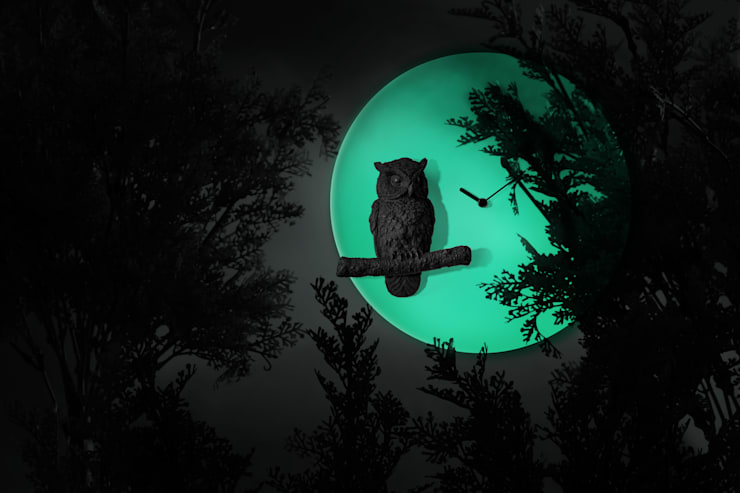 Haoshi Night Glow Owl Moon Clock: modern  by Just For Clocks,Modern Ceramic