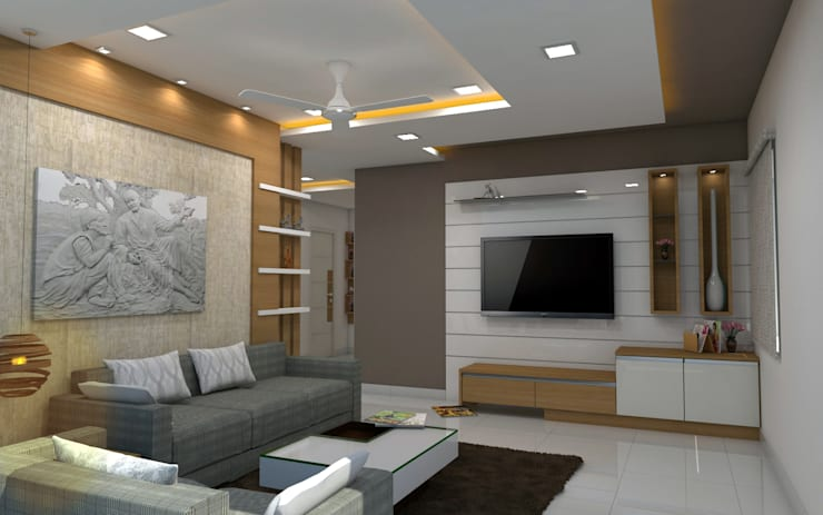 sai ram projects, kondapur:  Living room by shree lalitha consultants