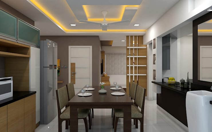 sai ram projects, kondapur:  Dining room by shree lalitha consultants