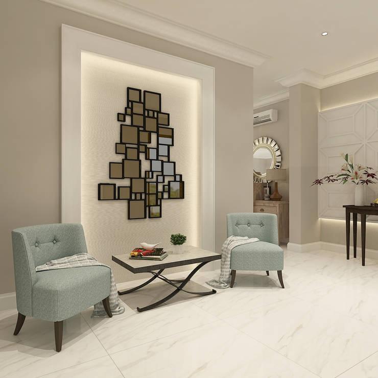 American modern residence:  Koridor dan lorong by Kottagaris interior design consultant
