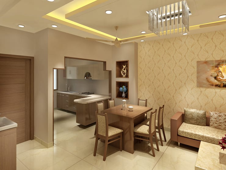 3 Floor Residential Villa:  Kitchen by Srijan Homes