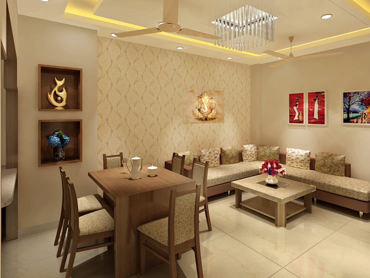 3 Floor Residential Villa:  Dining room by Srijan Homes