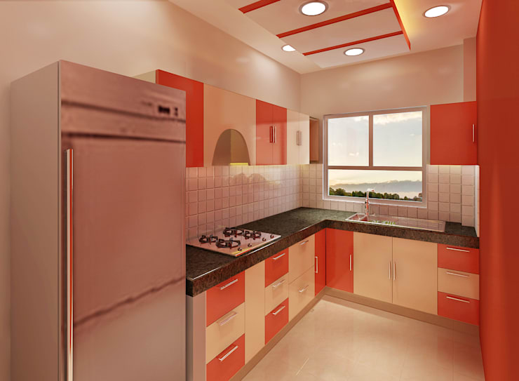 3 Bedroom Independent Floor:  Built-in kitchens by Srijan Homes