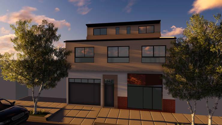 Fachada: Casas multifamiliares de estilo  por Lacerra Arquitectura,