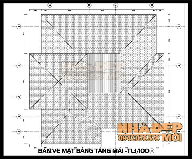 Bản vẽ thiết kế mặt bằng mái:  Biệt thự by Công ty TNHH TKXD Nhà Đẹp Mới