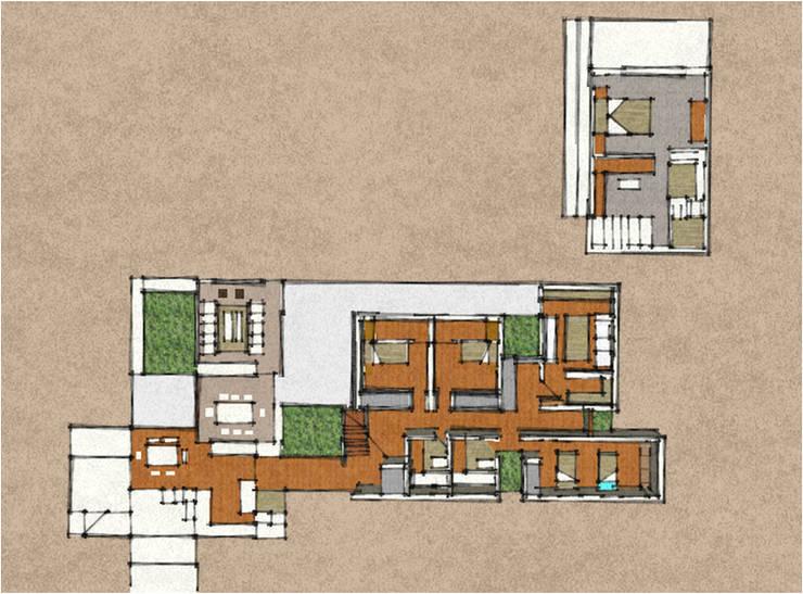 CASA PEZZIANI: Casas unifamiliares de estilo  por AOG SPA