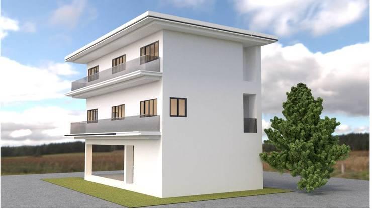 ออกแบบบ้าน 3 ชั้น style modern:  วิลล่า by mayartstyle