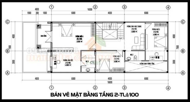 Bản vẽ phương án tầng 2:  Biệt thự by Công ty TNHH TKXD Nhà Đẹp Mới